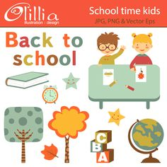 School time kids - great for invitations, scrapbooking, card design, web design and more.