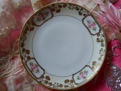 antique nippon handpainted pink roses fine china by polkadotrose, $18.00