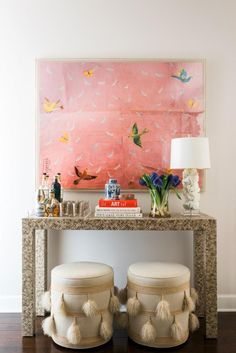 Spotted! A pop of brass DwellStudio cocktail glasses add to the eclectic look of this amazing bar.
