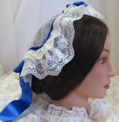 Lovely day or evening cap. Based on an original. You can purchase here: https://www.etsy.com/listing/231507900/victorian-ladys-lace-cap-affordable