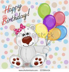 Greeting card Polar Bear with balloons