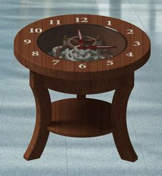 Coffee table with wooden clock. Project in work.