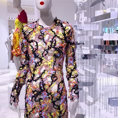 The Mary Katrantzou archive at Hudson's Bay (Canada). Bay Canada, Hudson Bay, Mary Katrantzou, Ruffle Blouse, Unique, Archive, Fashion Design, Display, Shopping