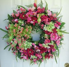Beautiful bright Spring wreath lime & pink Front door by slkbaxt64, $140.00