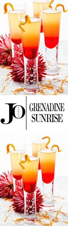 This Grenadine Sunrise is a gorgeous and festive cocktail perfect for any occasion! Easy to make, sweet and delicious, made with Prosecco, Grand Marnier, brandy and Grenadine.