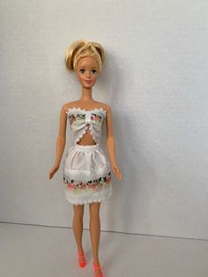 Handmade Barbie Doll Clothes, Barbie Dresses, Barbie Clothes, White and Floral Skirt and Matching Crop Top, Barbie Clothes For Sale, Doll Clothes Barbie, Barbie Outfits, Barbie Dress, Beautiful Barbie Dolls, Evening Outfits, Tan Dresses, Barbie And Ken, Doll Stuff