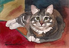 Watercolor Painting Tabby Cat Kitty Kitten Grey