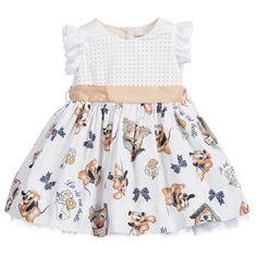 Monnalisa Baby Girls White Dress with Pluto Print at Childrensalon.com