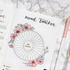 How gorgeous is this mood tracker by . While you shouldn't feel any pressure to feel happy all the time (no one does), we… How gorgeous is this mood tracker by . While you shouldn't feel any pressure to feel happy all the time (no one does), we… Bullet Journal Tracker, Bullet Journal Notebook, Bullet Journal Spread, Bullet Journal Layout, Bullet Journal Inspiration, Journal Ideas, Bullet Journal Calendrier, Cherry Blossom Theme, Cherry Blossoms