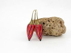 Polymer clay flowerbud earring fairy millefiori by polymerdesign
