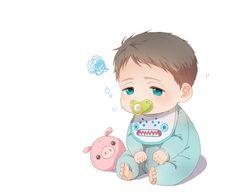 Baby Sousuke ... Free! - Iwatobi Swim Club, free!, iwatobi, yamazaki, sousuke yamazaki, sousuke, pig plush toy, pig, plush toy