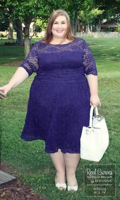 """Blogger Rebecca (5'4"""") from ThePlusSideofMe.com tried our Scalloped Luna Lace Dress two ways and looked stunning in both!  For a less glam take, here she is with a clean white bag, easy shoes and sweet headband.  www.kiyonna.com  #KiyonnaPlusYou  #Plussize  #MadeintheUSA  #Kiyonna  #OOTD"""