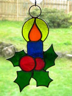 Stained Glass Christmas Candle Suncatcher