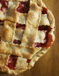 Strawberry Pie with fresh strawberries in a flaky, buttery crust. www.tryanythingonceculinary.com