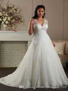 Plus Size Wedding Dresses Cap Sleeves A Line White Tulle Appliques Lace Sweetheart Big Size Bridal Gowns Formal Custom Made Bride Dress Wedding Gowns Wedding Dresses A Line Wedding Dress With Straps From Weddingdressshop2009, $139.25  Dhgate.Com