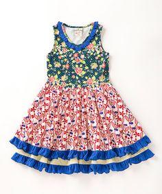 Look what I found on #zulily! Green & Red Ferris Wheel Dress - Toddler & Girls #zulilyfinds