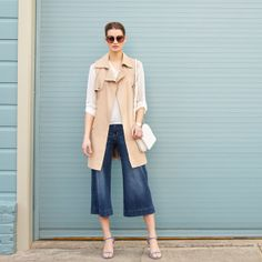 I love the culottes. I think that the vest would be too long on me and make me look short and fat.