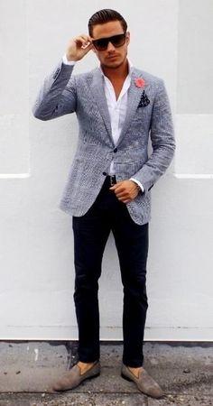 Men's Grey Plaid Blazer, White Dress Shirt, Black Chinos, Grey Suede Loafers