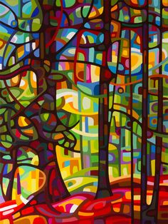 Colorful abstract landscape paintings inspired by the Ontario landscape by Mandy Budan.
