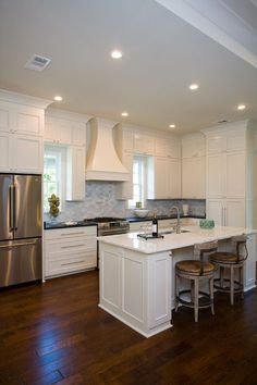 traditional kitchen by Highland Homes, Inc. no pendants?