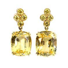Gold, Yellow Sapphire and Yellow Diamond Earrings   1stdibs.com