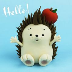 Kawaii Hedgehog Fondant / Polymer Clay Tutorial - Food and drink - Fondant Cake Toppers, Fondant Figures, Fondant Cakes, Cupcake Toppers, Fondant Bow, Fondant Flowers, Hedgehog Cake, Hedgehog Birthday, Cake Topper Tutorial