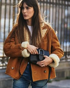 """Leia Sfez on Instagram: """"Ready for fall 🍂 @ralphlauren #WelingtonCollection #RalphLauren #RLCollection ad"""" Sheepskin Coat, Street Photography, Fall Winter, Ralph Lauren, Street Style, Photo And Video, Hoodies, Instagram, How To Wear"""