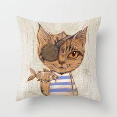 Killer Cat Throw Pillow by baba yagada - $20.00