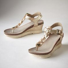 ANDELYN SANDALS - Braided, metallic leather wedge sandals with a burnished finish that adds an edgy sophistication to a comfortable design. Moderate wedges with sneaker-inspired soles.