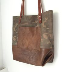 Two Tone Leather Pocket Tote Bag Large Camouflage by HattonHenry