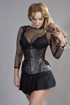 077947169c1 Forcas steampunk corset in brown matte vinyl with black piping and laced  cord detail at hip panels. A steel boned waist training corset with clip