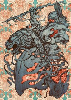 Jousting Games - A Knight and Some Pineapples by James Jean