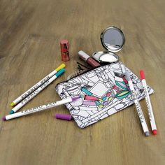 Colour in Make-Up Bag - Create your own stylish accessories with the Colour in Make-Up Bag. Fashionistas and Make-Up fanatics will love creating their own Make-Up Bag, to store their mascara and colourful lipsticks.