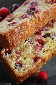 Cranberry Orange Bread Cranberry Orange Bread Cranberry Orange Bread<br> Moist orange quick bread studded with cranberries. Make this one the day before you plan to eat it and let it sit out overnight (covered) for the be… Bread Cake, Dessert Bread, Mélanges Pour Cookies, Cranberry Orange Bread, Cranberry Quick Bread, Ocean Spray Cranberry Bread Recipe, Pumpkin Cranberry Bread, Cranberry Jam, Cranberry Muffins
