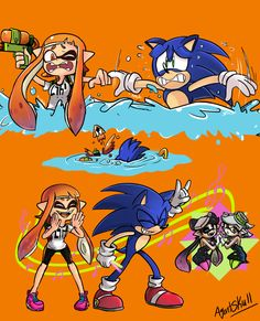 Inkling and Sonic. (can't wait to play this game Super Smash Bros Game, Nintendo Super Smash Bros, Sonic Fan Characters, Nintendo Characters, Cartoon As Anime, Cartoon Games, Creepypasta Anime, Super Smash Ultimate, Mundo Dos Games