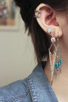 2 pairs of different dangly earrings