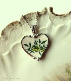 Green floral transferware broken china jewelry heart pendant necklace made from antique broken plate