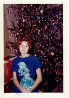 Vintage-Photo-Pretty-Young-Girl-Tween-Holding-Blue-Poodle-Doll-Christmas-1961