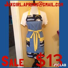 Women's Chargers apron  SALE $13 free shipping  Follow at Juxgirl.aprons on Instagram  for more info
