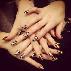 Michael van der Ham F/W 2013 CND Shellac with silver, copper & 24K gold leafing. #LFW #nails