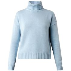 MAX MARA STUDIO Febo sweater ($270) ❤ liked on Polyvore featuring tops, sweaters, knitwear, pastel sweater, maxmara, blue top, roll neck sweater and blue sweater