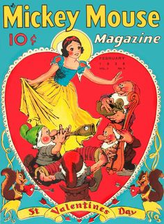Mickey Mouse Magazine, February 1938. Love this great Snow White vintage graphic.