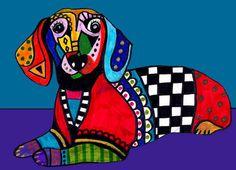 PRINT Dachshund Dog Christmas Blue Art Poster Painting
