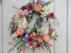 Mixed Garden Wreath by TheVictorianBouquet on Etsy  $88