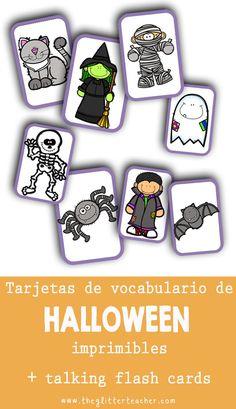 Tarjetas de vocabulario de #Halloween imprimibles + talking flash cards en inglés #ELT #ESL #ELL #educaciónprimaria #educacióninfantil