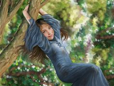 Reluctant lady in the trees; Arya Stark GoT  Give her golden hair and this could be Kathryn as a child.