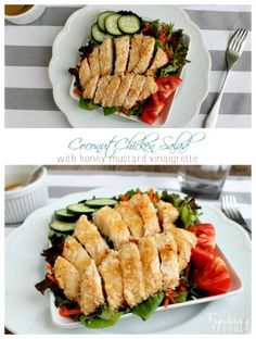 Coconut chicken salad with honey mustard vinaigrette! Delicious, healthy, easy salad & dressing for lunch or dinner.