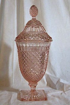 Spiral Hocking Glass Set | Hocking pink depression glass Miss America pattern candy dish with lid ...