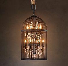 ideas bird cage light restoration hardware for 2019 Home Lighting, Chandelier Lighting, Chandeliers, Entry Chandelier, Funky Lighting, Unique Lighting, Lighting Design, Restoration Hardware, Vintage Birds