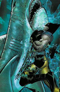 "johnromitajr: ""Wolverine vs Bruce the Shark by John Romita Jr. for Marvel Comics. Comic Book Characters, Comic Book Heroes, Marvel Characters, Comic Character, Comic Books Art, Comic Art, Book Art, Wolverine Claws, Wolverine Art"